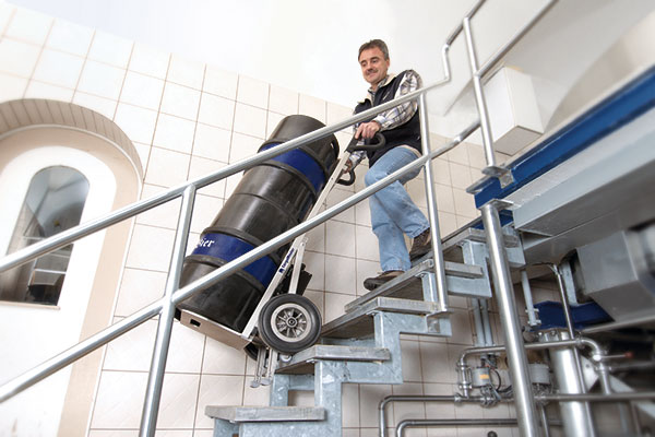CargoMaster C141 electric stair climber transports casks up stairs