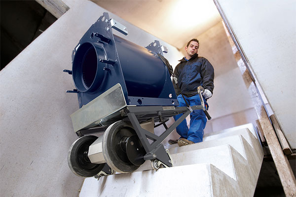 CargoMaster A350 electric stair climber transports boilers up stairs